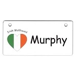 Irish Wolfhound Heart Flag Crate Tag Personalized With Your Dog's Name
